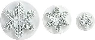 LIHAO Set of 3 Snowflake Fondant Cutters Cake Decorating Mold