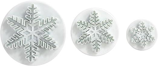 LIHAO 3 Moldes de Copo de Nieve de la Tarta y Cortador del Embolo para Decoración de Pasteles