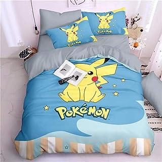AINYD 3D Imprimé Pokémon Pikachu Les Dessins Animés Housse De Couette Respectueux De l'environnement Enfants Adultes Lit S...