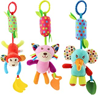 Kids Toys 3pcs Cartoon Baby Rattle Toys Baby Bed Toys Infant Bedside Bells Rotating Bells Wind Chime Animal Gift Toys (Ele...