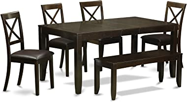 6 PC Dining Table with bench-Kitchen Tables Plus 4 Dining Chairs and Bench