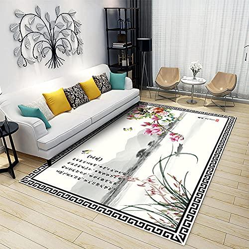 Anti-Skid Yoga Carpet For Living Room Soft Fluffy Rugs Magnolia del Poema Antiguo de la Pintura China de la Tinta de Feng Shui 100x160CM(3'3''x5'2'')