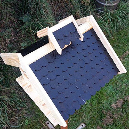Vogelhaus-XXL mit Holzschindeln und Putzklappe lasiert Vogelhäuser-Vogelfutterhaus großes Vogelhäuschen-aus Holz Wetterschutz (Schwarz) - 2