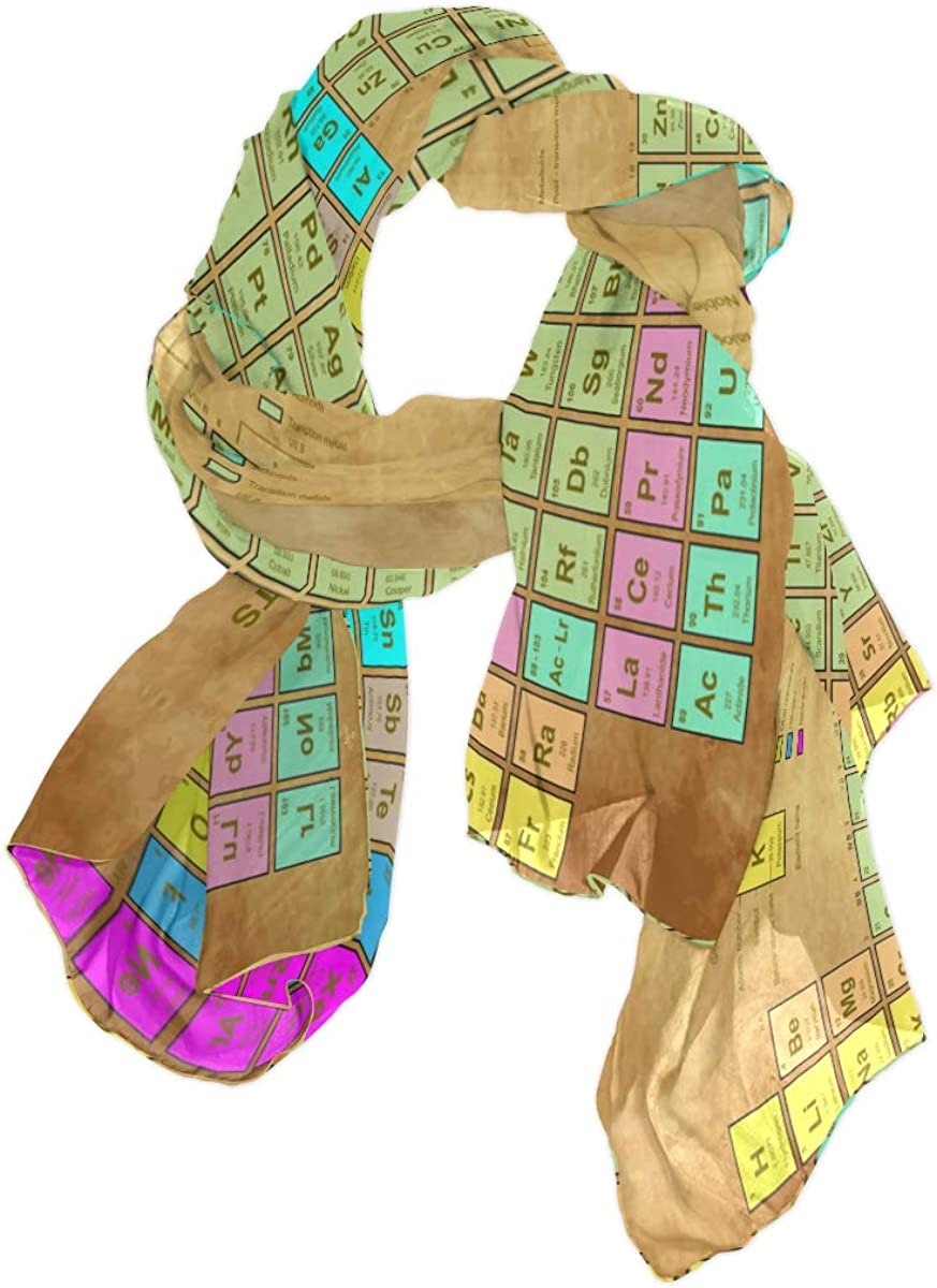 XMCL Periodic Table Of The Element Chemistry Scarf Scarves Soft Lightweight Long Sheer Wrap Shawl for Women