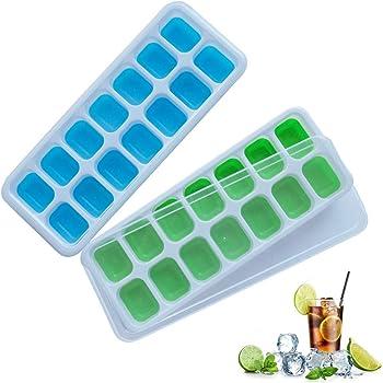 frdzsw 製氷皿、 シリコンールランド アイストレー 14個取り 蓋付、製氷器 (2個セット)