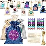 Calendario de Adviento para rellenar, 24 bolsas de regalo, bolsas de tela con 1 – 24 pegatinas de números de Adviento, calendario de Navidad para hombres y niños