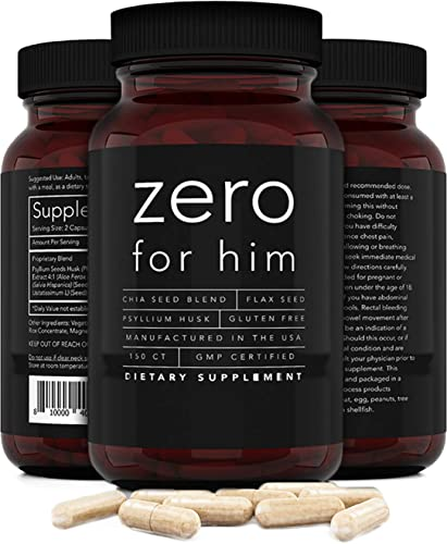 2021 Zero for Him Dietary Fiber Supplement for Men (150caps) Strong Vegan outlet online sale Fiber Pills, Psyllium Husk, Flax Seeds and Chia Seeds Pure Supplement for Digestive Health, new arrival for Men Seeking Clean and Fun Night… online sale