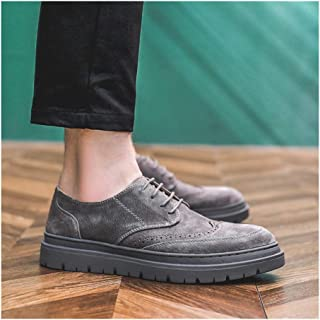 Leather Brogue Oxford for Men Dress Shoes Skate Sneakers Lace up Microfiber Leather Round Toe Perforated Platform shoes (Color : Grey, Size : 38 EU)