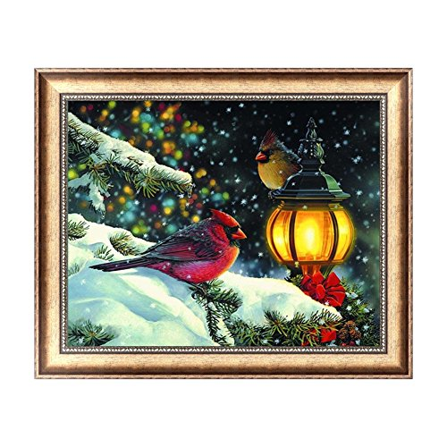 Feamos 5D Diamond Embroidery Kit Birds Waiting Christmas Cross Stitch Craft for DIY Wall Decor