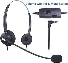 Auriculares Teléfono Fijo 2,5 mm Dual, Cancelación de Ruido Micrófono, Control de Volumen, Cascos Teléfono inalámbrico para Panasonic Polycom Grandstream Gigaset Cisco Linksys SPA Zultys(X203VP)
