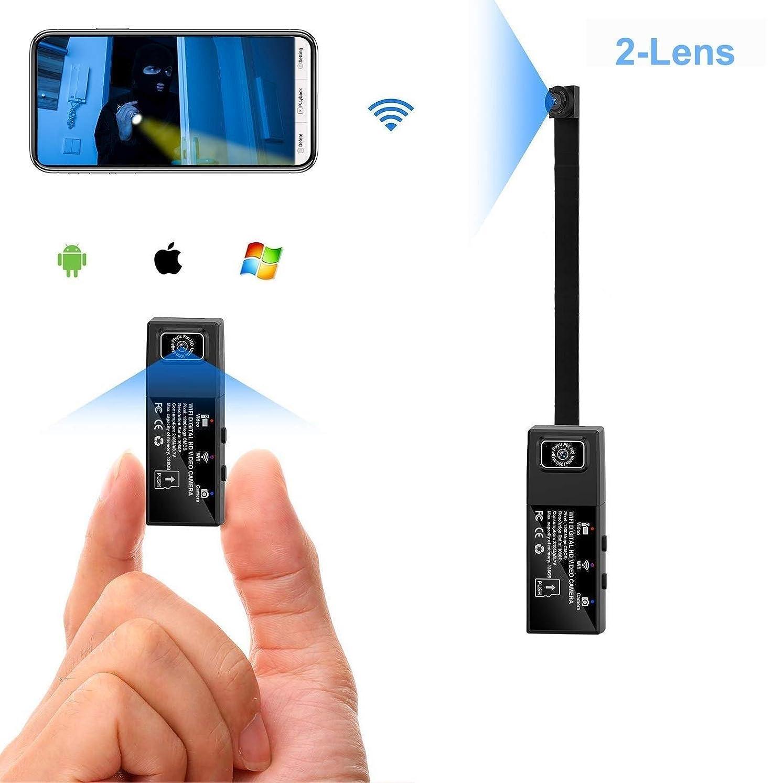 開拓者タバコ主婦超小型カメラ Hd 1080 pウェアラブル乳母車カメラwifiミニスパイカメラ2レンズポータブル隠しカメラ用モバイル検出アラーム付き (Color : +32G memory card)