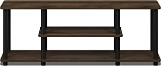 FURINNO Turn-N-Tube No Tools 3D 3-Tier Entertainment TV Stands, Round, Columbia Walnut/Black