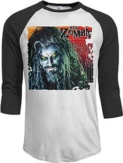 MarshallD Men's Rob Zombie 3/4 Sleeve Raglan Baseball T-Shirt Black