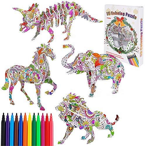 Funmo Rompecabezas para Colorear 3D, DIY Arts Crafts Puzzle Kit Regalo de Juguete para Niñas Niños, Juguetes Kit de Colorear, Regalo Navidad de cumpleaño (Dinosaurios, Leones, Elefantes y Caballos)