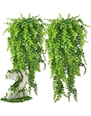 Andiniu 2 pcs Artificial Plant Fake Plants Artificial Greenery Plant Decor for Wedding,Party, Garden, Home Decoration