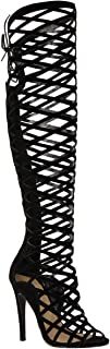 Womens Cut Out Lace Knee High Heel Boots Gladiator Sandals Strappy Size