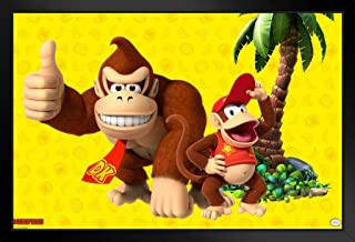 Pyramid America Donkey Kong and Diddy Kong Palm Tree Nintendo Black Wood Framed Art Poster 14x20