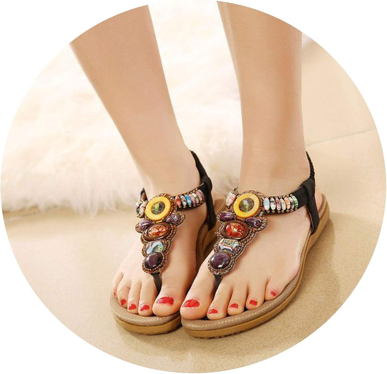 Glad You Came Women Sandals Woman Summer Fashion Casual Flats Heels Bohemia String Bead Flip Flop Beach Sandals Size 35-45 Black Beige