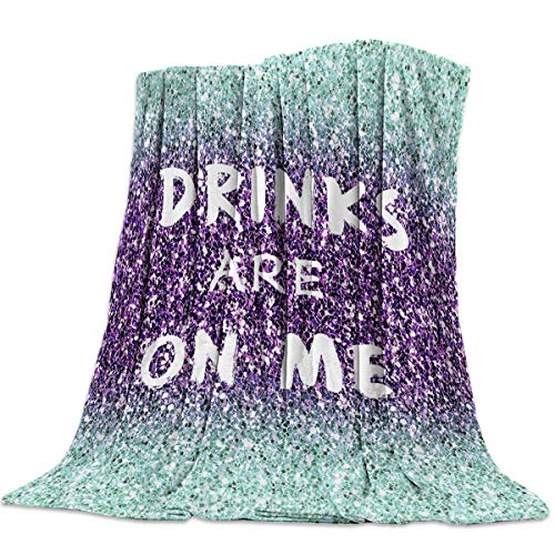 Throw Blanket Warm Microfiber Fuzzy Plush Blanket Flannel Fleece Bed Blanket Drinks are on Me Quotes Lightweight Blanket Throw for Sofa Bed Couch 60x80 Inch-Purple Sequins