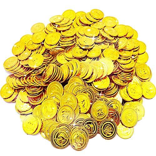 JOYUE 150 Piezas Monedas Doradas Piratas de Juguete, Fiestas Temáticas Piratas, Tesoros para La Búsqueda del Tesoro Cumpleaños de Los Niños