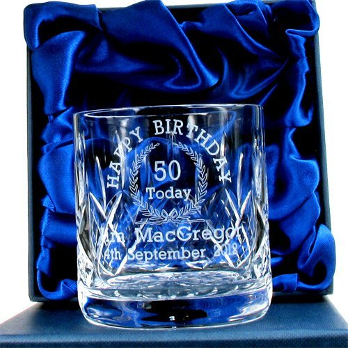 50th Birthday Whisky Glass For Him Personalised Gifts Amazoncouk Kitchen Home