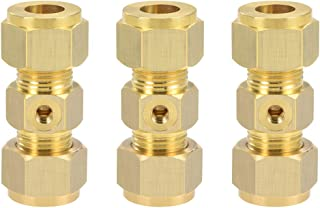 uxcell Brass Compression Tube Fitting 8mm OD Straight UNC 10-24 Thread Nozzle Hole Pipe Adapter for Water Garden Irrigation