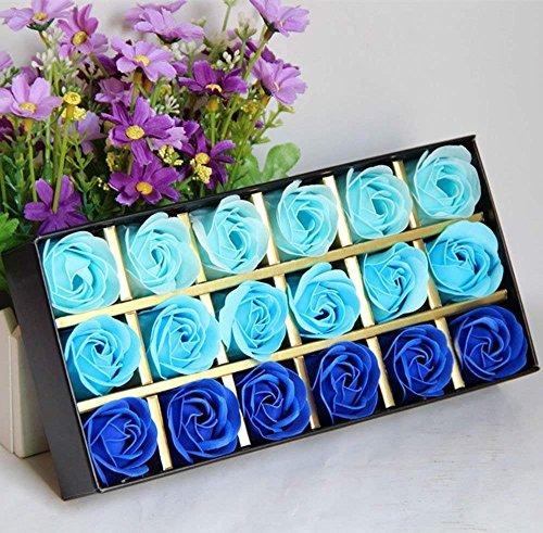 FunRun 18 Piezas Rose Jabones Perfumados en Caja de Regalo, regalo Esenciales jabón de aceite para el Día de los Enamorados de baño de burbujas regalo de San Valentín / regalos de boda regalos(Azul)