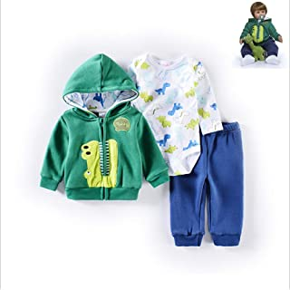 """Zero Pam Reborn Baby Dolls Clothes Boy Green Set for 22""""- 24"""" Reborn Doll Boy Clothing Dinosaur Outfit Accessories 3 Piece..."""