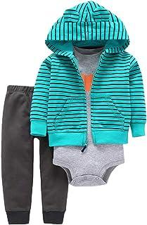ZEVONDA Baby Clothing Set 3pcs Long Sleeve Hoodie & Bodysuit & Pants Newborn Girl Boy Autumn Winter Clothes Outfits 100% Cotton for 0-18 Months