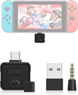 LANMU USB C 型蓝牙音频发射器适配器兼容任天堂开关、PS4、PC、蓝牙耳机。