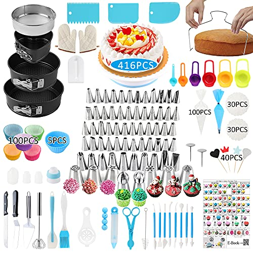 Cake Decorating Supplies, 416 PCS Baking Supplies Kit Set with 3 Springform Pan Sets, 66Icing Piping Nozzles, Cake Rotating Turntable, 40Cake Topper,100 Piping Bags, Mother's Day Gift