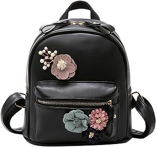 Bcony Noir Mini En Cuir PU Femmes Sac À Dos Sac À Main Boho Fleur Petite