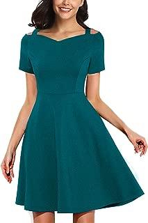Women's Elegant Vintage Sweetheart Neck Spaghetti Strap Little Cocktail Party A-line Dress 268