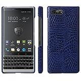 HualuBro BlackBerry KEY2 Hülle, Ultra Slim Premium Crocodile PU Leder Leather HandyHülle Tasche Schutzhülle Hülle Cover für BlackBerry Key 2 Smartphone (Blau)