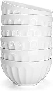 Foraineam Set of 6 Pcs 18 Ounce Porcelain Cereal Bowls Set White Fluted Bowl for Noodle, Cereal, Soup, Salad