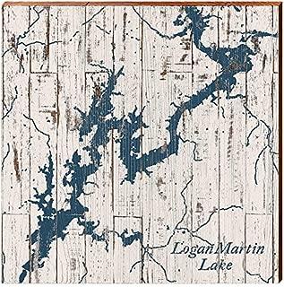 MILL WOOD ART Logan Martin Lake, Alabama Map Home Decor Art Print on Real Wood (18