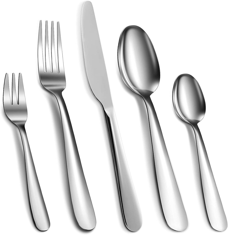 Cibeat Cubertería de 30 piezas de acero inoxidable plateado, cuchillo, tenedor y cuchara, juego de utensilios para 6, pulido de espejo y apto para lavavajillas.