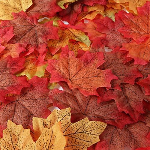 Unomor 190assortiti artificiale Maple leaves in 2misure con multicolore per Thanksgiving Day & wedding Decorations