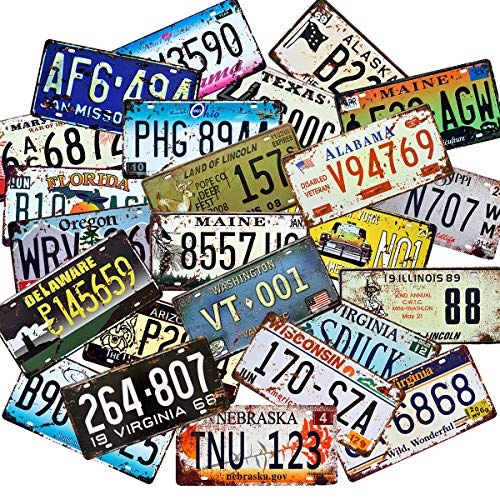 1st warehouse Retro Vintage Assorted US States Number Tags, Embossed License Plates, Lot of 10/15/20/25/30 pcs, Man Cave Garage Bar Home Wall Decor, 6x12 Inch (15)
