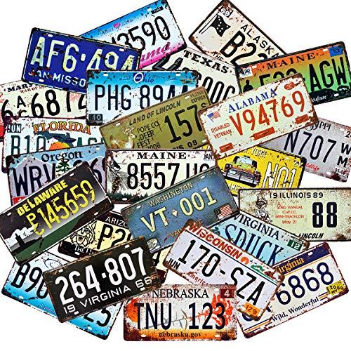 Retro Vintage Assorted License Plates
