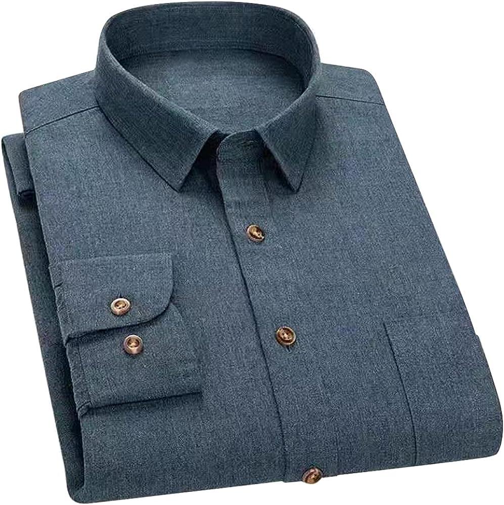 Men Dress Shirt Button Down Long Sleeve Regular Fit Solid Plain Tops