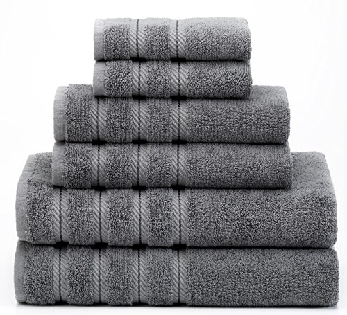 Premium, Luxury Hotel & Spa Quality, 6 Piece Kitchen and Bathroom Turkish Towel Set, 100% Genuine Cotton for Maximum Softness and Absorbency by American Soft Linen, [Worth $72.95] (Grey)