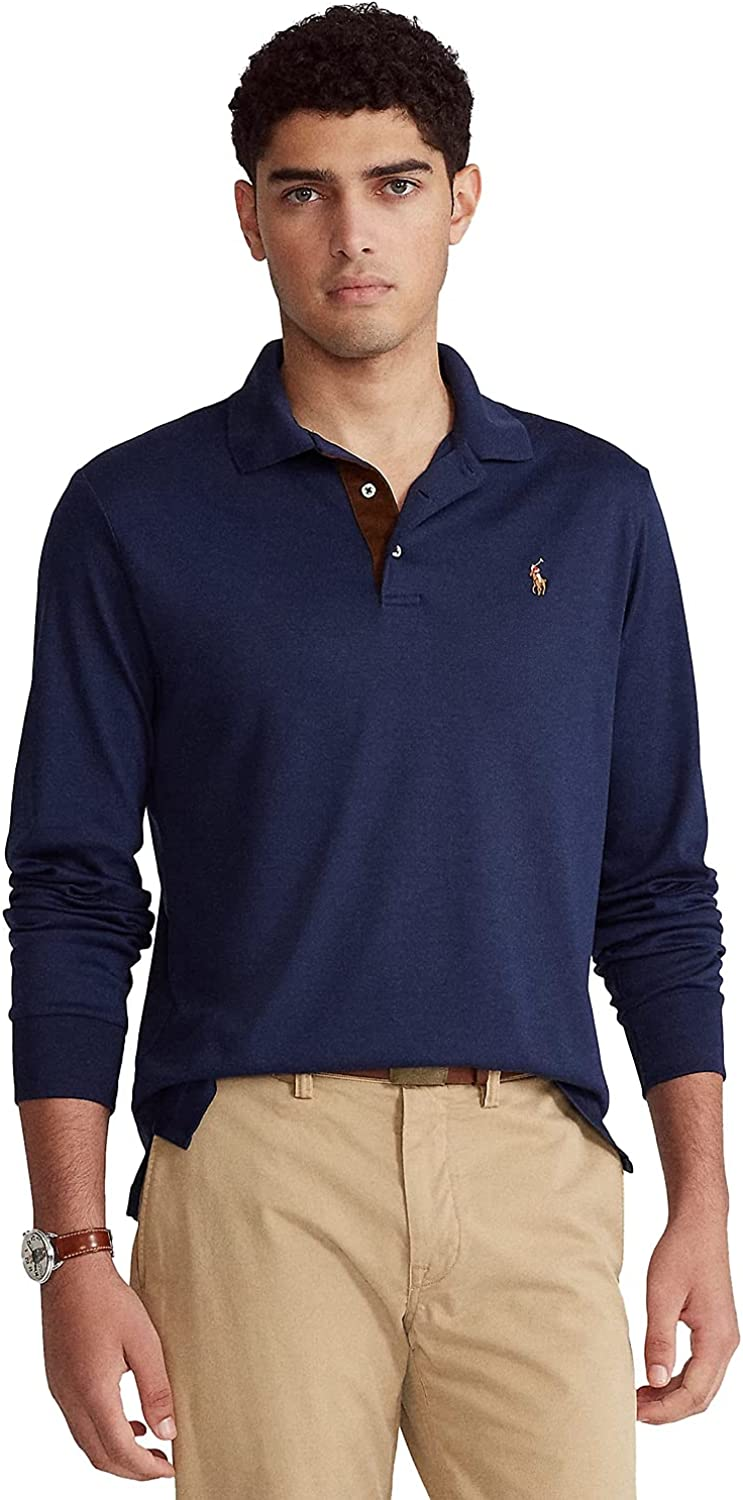 Polo Ralph Lauren Men's Long Sleeve Polo Shirt 100% Cotton Classic Fit 710671 French Navy (Large)