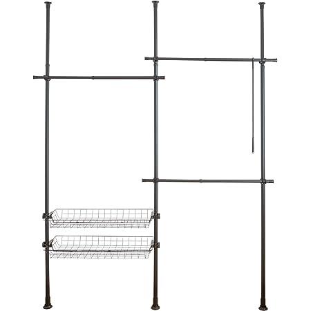WENKO Système télescopique Herkules Duo Noir, système d'ordre réglable individuellement, avec 3 barres porte-vêtements et 2 paniers de rangement, adaptable aux pièces les plus différentes