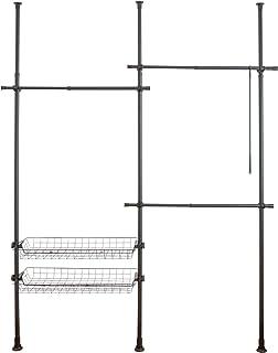 WENKO Système télescopique Herkules Duo Noir, système d'ordre réglable individuellement, avec 3 barres porte-vêtements et ...