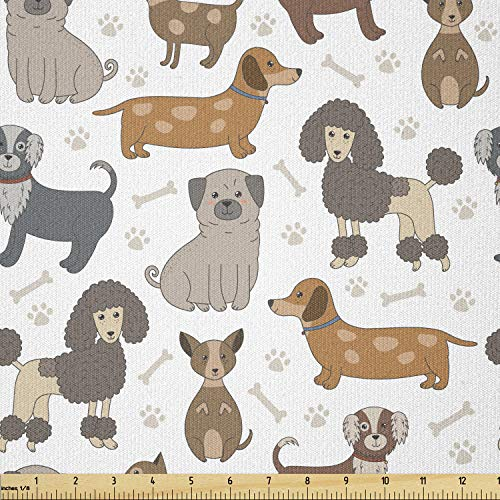 Lunarable Pets Fabric by The Yard, Dogs Poodle French Bulldog Beagle Chihuahua Terrier Fun Cartoon Creatures, Stretch Knit Fabric for Clothing Sewing and Arts Crafts, 3 Yards, Orange