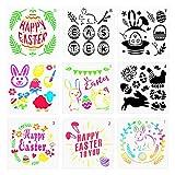 MEZOOM 9 pz Modelli di stampini pasquali Coniglietto in plastica Disegno Pittura Stencil Modello Buona Pasqua Art Craft Disegno per Pasqua Decorazione fai da te Kids Party Bag Filler