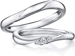 Gnzoe 1 Pair 18K White Gold Wedding Bands for Bride and Birdegroom Curve with Diamond 0.08ct Engagement Wedding Ring for Him & Her