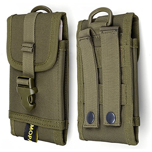 Premium Outdoor MOLLE Tactical Military Pouch Army Black Waist Holster Mobile Phone Belt Clip Pouch for iPhone 11 XR Xs 6 6s 7 Plus 8 Plus, Galaxy Note 10 (Fits Will a Slim Hard Case Bumper Cover On)