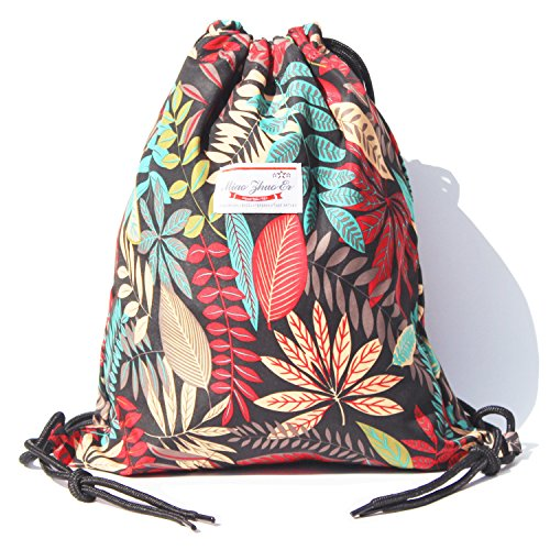 Alpaca Go Drawstring Bag Water Resistant Floral Leaf Lightweight Gym Sackpack for Hiking Yoga Gym Swimming Travel Beach (B - Black)